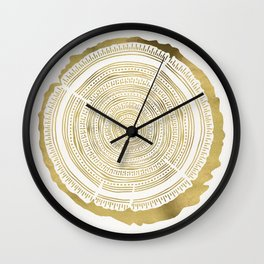 Douglas Fir – Gold Tree Rings Wall Clock