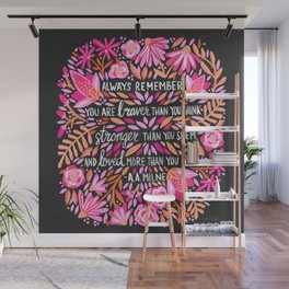 Always Remember – Pink & Charcoal Palette Wall Mural
