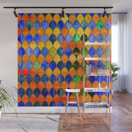 Red Blue Stained Glass Wall Mural