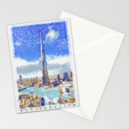 Burj Khalifa (watercolor) signed Stationery Cards