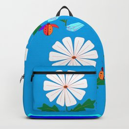 White Spring Daisies, Dragonflies, Lady Bugs and the Sun Backpack