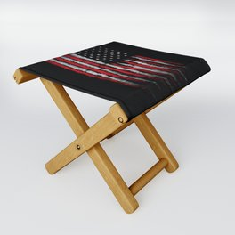 Red & white Grunge American flag Folding Stool