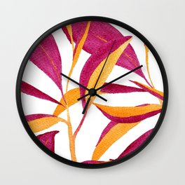 Ruby and golden leaf pattern in watercolor Wall Clock