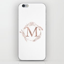 Letter M Rose Gold Pink Initial Monogram iPhone Skin