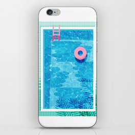 Chillin' - poolside palm springs vacation resort tropical swim swimming retro neon throwback 1980s iPhone Skin