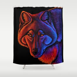 Fire Wolf Colorful Fantasy Animals Shower Curtain