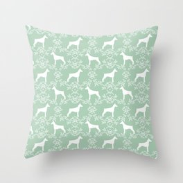 Doberman Pinscher floral silhouette mint and white minimal basic dog breed pattern art Throw Pillow