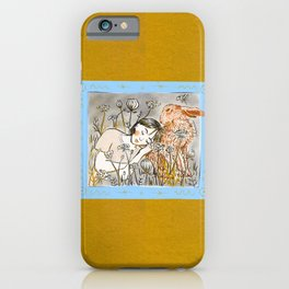 A Girl and a Hare in the Field of Queen Anne's Lace Flowers iPhone Case