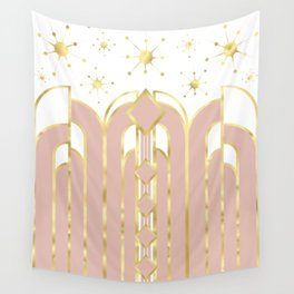 Art Deco Geometric Architectural Shapes and Stars in Blush Pink and Yellow Gold Wall Tapestry