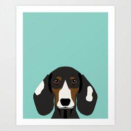 Doxie Portrait - Piebald dog design - cute dachshund face Art Print