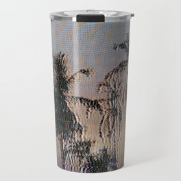 Analogue Glitch Palm Trees Sunset Travel Mug