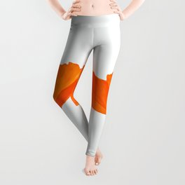 Three Orange Poppy Flowers White Background  Leggings