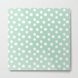Brushy Dots Pattern - Mint  Metal Print