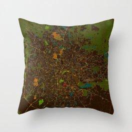 Bangalore old green map Throw Pillow