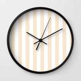 Narrow Vertical Stripes - White and Champagne Orange Wall Clock