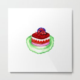 Chocolate cake in watercolor Metal Print