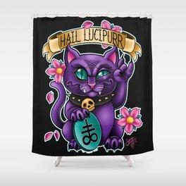 Hail Lucipurr! Shower Curtain
