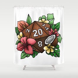 Tropical D20 Tabletop RPG Gaming Dice Shower Curtain