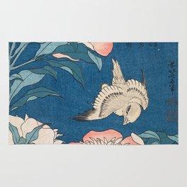 Katsushika Hokusai - Peonies and Canary, 1834 Rug