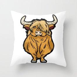 SCOTTISH HIGHLAND COW Scottland beef cattle bison Throw Pillow