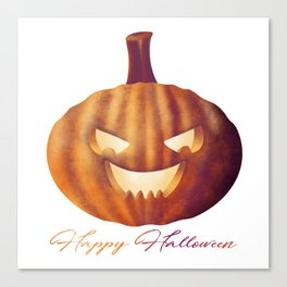 Happy Halloween Pumpkin Lantern Canvas Print