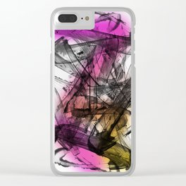 Expressive Edgy Modern Abstract Painting Magenta Yellow Clear iPhone Case