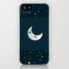 Little Green Man on Moon and Stars iPhone Case