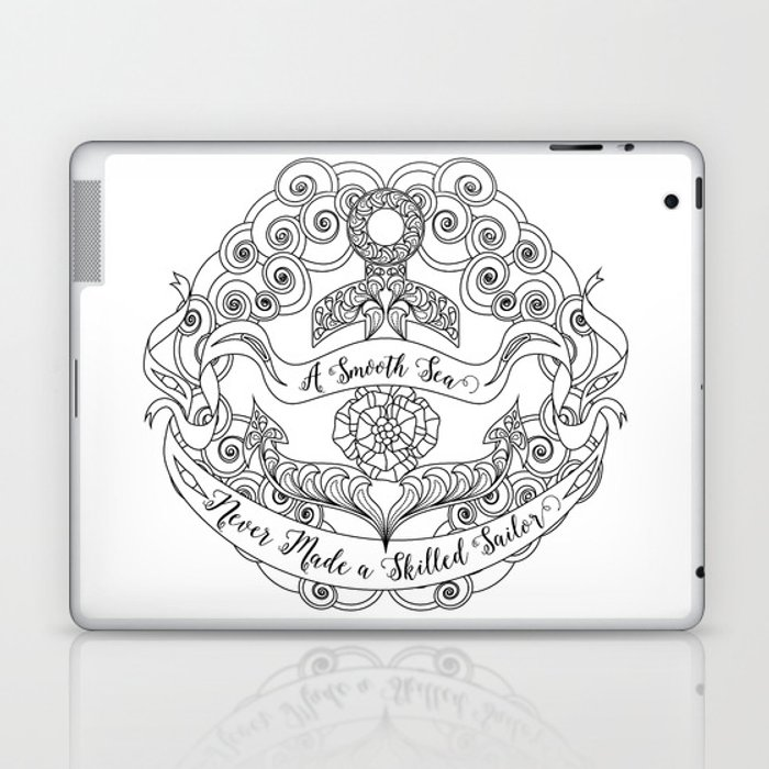 Anchor Tattoo Color Your Own Art Skilled Sailor Quote Laptop Ipad