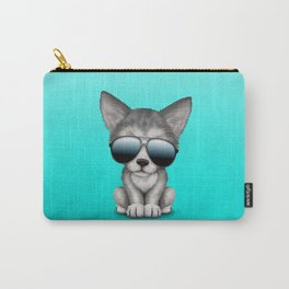Cute Baby Wolf Cub Wearing Sunglasses Carry-All Pouch