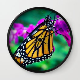 """Hello sunshine"" orange monarch butterfly close-up photo Wall Clock"