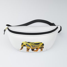 golden silver elephant abstract digital painting Fanny Pack