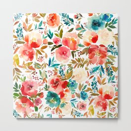 Red Turquoise Teal Floral Watercolor Metal Print