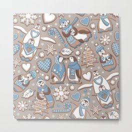 Penguin Christmas gingerbread biscuits V // brown silk background Metal Print