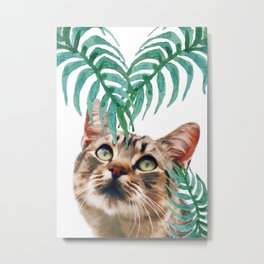 Leaf and cat Metal Print