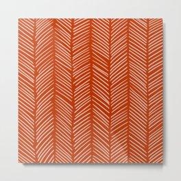 Rust Herringbone Metal Print