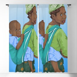 African mother giving piggyback ride to son Blackout Curtain
