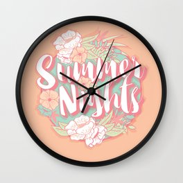 Summer nights typography banner round design in tropical flower frame 002 Wall Clock