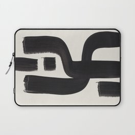 Mid Century Modern Minimalist Abstract Art Brush Strokes Black & White Ink Art Alien Symbol Pattern Laptop Sleeve