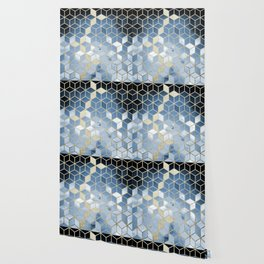 Shades Of Blue Cubes Pattern Wallpaper