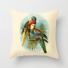 Vintage Parrots Throw Pillow