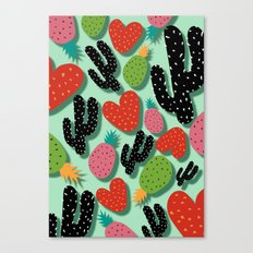 Cactus Love and Pineapples Canvas Print