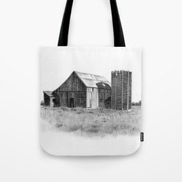 Pencil Art, Old Wooden Barn and Wooden Silo, Country Scene Tote Bag