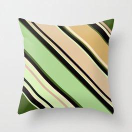 Striped pattern, diagonal.Brown, beige, green ,black stripes. Throw Pillow