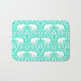 Elephant Damask Mint Bath Mat