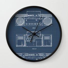 Boombox blueprints Wall Clock