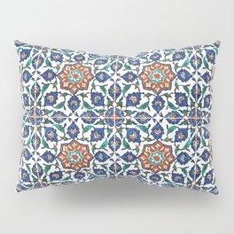 Iznik Tile Pattern Red Blue White Pillow Sham