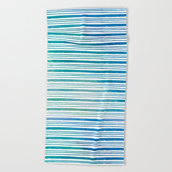 fine aqua handpainted stripes on clear white Beach Towel