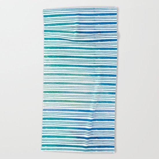 fine aqua handpainted stripes on clear white Beach Towel