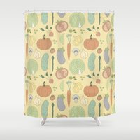 vegetable Shower Curtains featuring Vegetable Salad by akaink