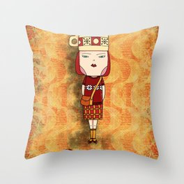 Red Tea Girl Throw Pillow